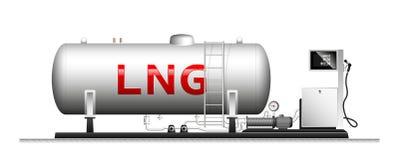 Automatisk modulfyllning med smält gas Stor cylindrisk cylinder med naturgas Kolonn med en slang för arkivbild