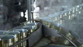 Automatisk produktionslinje på konservfabriken 3 stock video