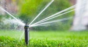 Automatisk sprinkleranläggning som bevattnar gräsmattan på en bakgrund av grönt gräs royaltyfria bilder