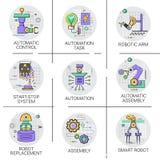 Automatisk uppsättning för symbol för produktion för bransch för industriell automation för robotmaskineri vektor illustrationer