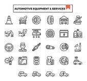 Automatisk utrustning och den tjänste- översiktsdesignsymbolen ställde in royaltyfri illustrationer