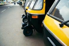 Automatiskrickshaw på Bangalore, Indien arkivfoto
