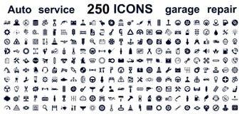 Automatiskservice, bilgarage 250 isolerade symboler ställde in - vektorn royaltyfri illustrationer