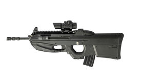 Automatiskt gevär som isoleras på lämnad vit bakgrund Arkivfoton