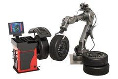Automatiskt hjul som balanserar maskinen med den robotic armen, tolkning 3d vektor illustrationer