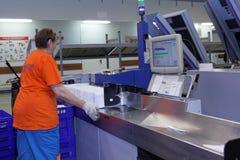 Automatizado classificando o centro do cargo do russo em St Petersburg Foto de Stock