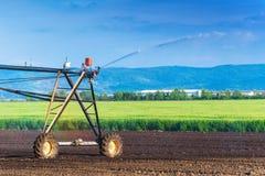 Automatizado cultivando el sistema de regaderas de la irrigación en funcionamiento Fotografía de archivo
