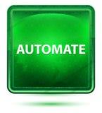 Automatize a luz de néon - botão quadrado verde ilustração do vetor
