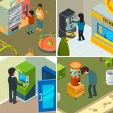 Automaty Ludzie pije łasowanie fast food przekąszają układu scalonego lody kupienie w automatycznym sklepowym wektorowym pojęciu royalty ilustracja