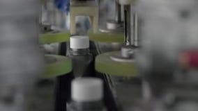 Automatyczny przyrząd zamyka nakrętki na popielatych plastikowych butelkach na linii produkcyjnej w fabryce parowozowi oleje zbiory