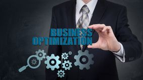 Automatyzaci modernizaci integraci biznesu pojęcie Przekładni cogwheel strzałkowaty przemysłowy znak Zintegrowanego techniki ulep fotografia royalty free