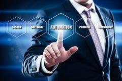 Automatyzaci oprogramowania technologii procesu systemu biznesu pojęcie Obraz Royalty Free