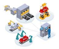 Automatyzująca linia produkcyjna pod kontrolą komputeru gromadzić samochody royalty ilustracja