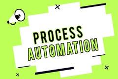 Automazione di processi del testo di scrittura di parola Concetto di affari affinchè robot aerodinamico di trasformazione evitino royalty illustrazione gratis