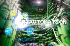 Automazione di tecnologia dell'innovazione e di processo aziendale in Internet di fabbricazione e concetto di tecnologia sul back Fotografie Stock