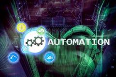 Automazione di tecnologia dell'innovazione e di processo aziendale nella fabbricazione Concetto di tecnologia e di Internet sul b Immagini Stock