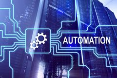 Automazione di tecnologia dell'innovazione e di processo aziendale nella fabbricazione Concetto di tecnologia e di Internet sul b Fotografia Stock Libera da Diritti