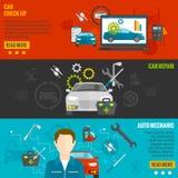 Automechaniker Banner Set Lizenzfreie Stockfotografie