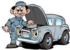Automechaniker, der altes Auto repariert Stockfotos