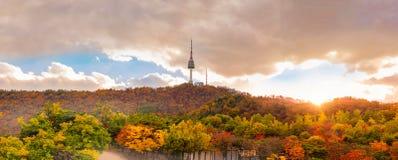 Automne à la tour de Séoul sur la montagne de Namsan à Séoul, Corée du Sud photo libre de droits