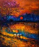 Automne au coucher du soleil illustration libre de droits