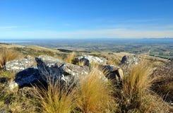 Automne au-dessus des plaines de Cantorbéry, Nouvelle Zélande Photographie stock libre de droits