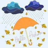 Automne, beau fond décoratif, style de bande dessinée, parapluie Images stock