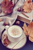 Automne chaud de cappuccino de café de tasse de thé Photos libres de droits