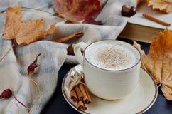 Automne chaud de cappuccino de café de tasse de thé Images libres de droits