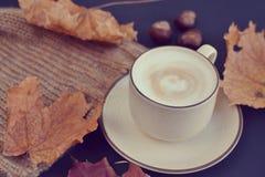 Automne chaud de cappuccino de café de tasse de thé Photos stock