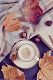 Automne chaud de cappuccino de café de tasse de thé Photographie stock