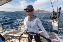 Automne 2016 d'Ellada de régate de navigation 16ème parmi le groupe d'île grec en mer Égée Image libre de droits