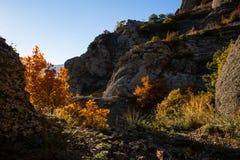 Automne dans la vallée du Hurdens de Demerdzhi photo libre de droits