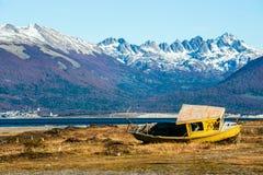 Automne dans le Patagonia Tierra del Fuego, la Manche de briquet photographie stock
