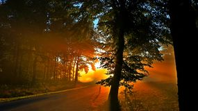 Automne dans les montagnes Lever de soleil photo libre de droits