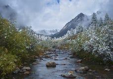 Automne dans les portées supérieures de la rivière Zun-handagay Photo libre de droits