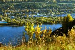Automne de la ville de rivière Photos stock
