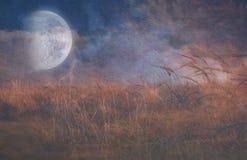 Automne de lune au-dessus de champ illustration libre de droits