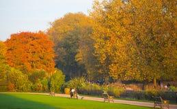 Automne en parc, habitants et familles de Londres marchant et appréciant le temps Photos stock