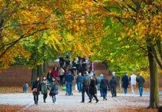 Automne en parc, habitants et familles de Londres marchant et appréciant le temps Photo stock