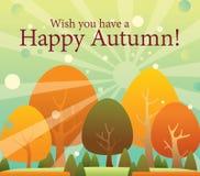 automne heureux, arbres changeants de couleur d'action de grâces Image libre de droits