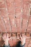 Automne L'homme se tient sur un rebord sur un mur de briques photographie stock libre de droits