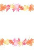 Automne lumineux Autumn Leaves Vector Background 2 d'aquarelle Image libre de droits