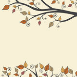 Automne moderne Autumn Leaves Branch Square Background 1 illustration de vecteur