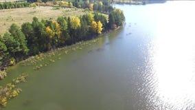 Automne sur la vue supérieure de lac du quadcopter banque de vidéos