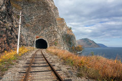 Automne sur le chemin de fer de Circum-Baikal Images libres de droits