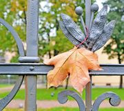 Automne Une feuille d'érable sur une clôture en métal Photos libres de droits