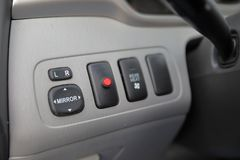 Automobiel Spiegelcontroles en alarmsysteemlicht stock foto's