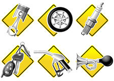 Automobiele en het Rennen pictogrammen Royalty-vrije Stock Foto