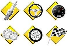 Automobiele en het Rennen pictogrammen Stock Foto
